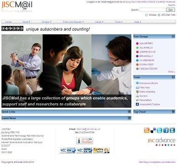 New JISCMail homepage